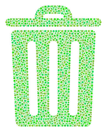 Trash Bin collage of dots in variable sizes and fresh green color tinges. Circle dots are combined into trash bin raster illustration. Ecological raster design concept.