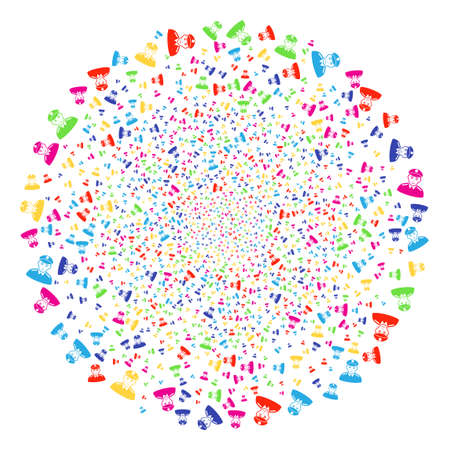 Multicolored Soldier decoration cluster. Raster round cluster explosion done by scattered soldier objects. Bright Raster illustration.