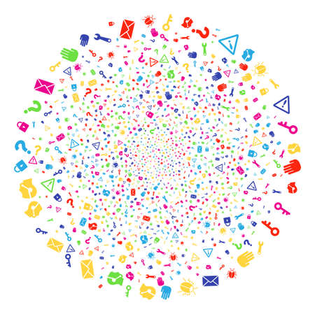 Multicolored Secrecy Symbols sparkler sphere. Raster round cluster explosion designed by random secrecy symbols items. Psychedelic Raster illustration.