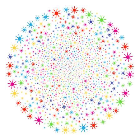 Colorful Sun festive round cluster. Raster spheric cluster burst done with randomized sun symbols. Multi Colored Raster illustration. Stock Photo