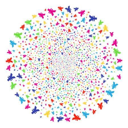 Bright Yen bang cluster. Raster globula fireworks done from scatter yen objects. Bright Raster illustration.