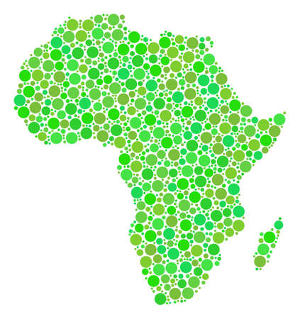 Africa Map mosaic of dots in various sizes and eco green color tints. Vector round dots are organized into africa map mosaic. Freshness design concept.