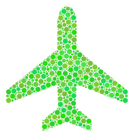 Air Plane collage of filled circles in variable sizes and fresh green color tinges. Vector round dots are combined into air plane illustration. Eco vector illustration.