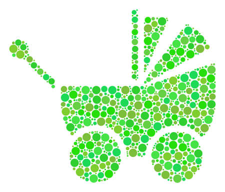 Baby Carriage collage of dots in different sizes and green color tones. Vector round elements are organized into baby carriage mosaic. Fresh design concept. Illustration