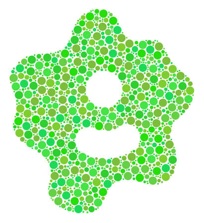 Amoeba collage of dots in different sizes and fresh green color hues. Vector round dots are combined into amoeba composition. Fresh design concept.