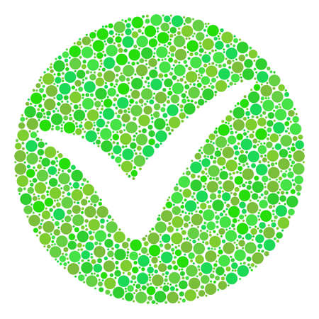 Apply composition of circle elements in different sizes and green color tints. Vector round elements are united into apply collage. Ecological design concept.