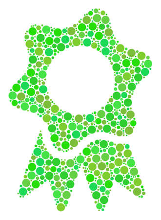 Award collage of filled circles in variable sizes and eco green color tinges.