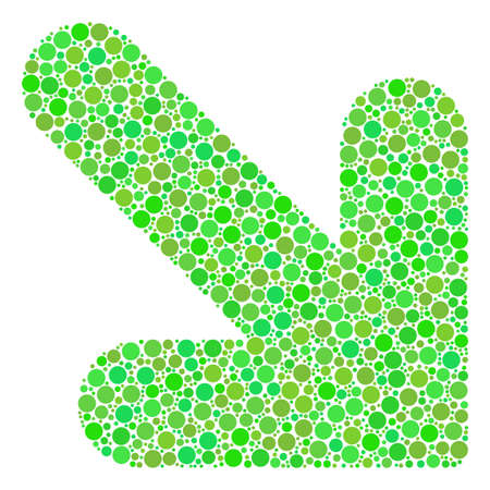 Arrow Down Right composition of dots in different sizes and green color tints. Vector dots are grouped into arrow down right illustration. Organic vector illustration.