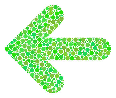 Arrow Left composition of filled circles in different sizes and fresh green color tones. Vector circle elements are combined into arrow left mosaic. Ecological vector illustration.