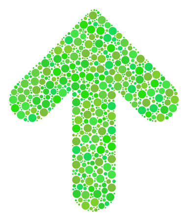 Arrow Up mosaic of circle elements in variable sizes and ecological green color tints. Vector filled circles are composed into arrow up mosaic. Ecological design concept.