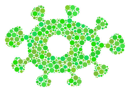 Bacteria collage of filled circles in variable sizes and fresh green color tinges. Vector round elements are organized into bacteria illustration. Eco design concept. Çizim