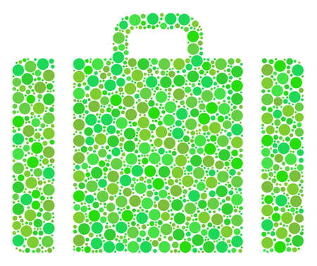 Baggage mosaic of circle elements in various sizes and fresh green shades. Vector round dots are united into baggage mosaic. Fresh vector illustration.