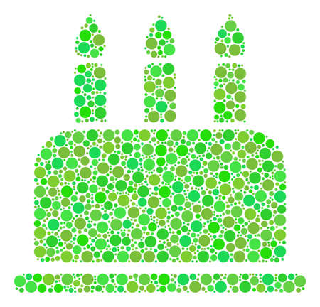 Birthday Cake mosaic of dots in various sizes and fresh green color tinges. Vector round elements are composed into birthday cake collage. Eco vector illustration.
