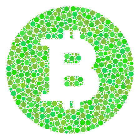 Bitcoin Coin composition of filled circles in various sizes and fresh green color tints. Vector circle elements are composed into bitcoin coin mosaic. Eco design concept.