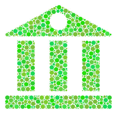 Bank Building collage of filled circles in variable sizes and eco green color tones. Vector circle elements are composed into bank building illustration. Organic design concept.