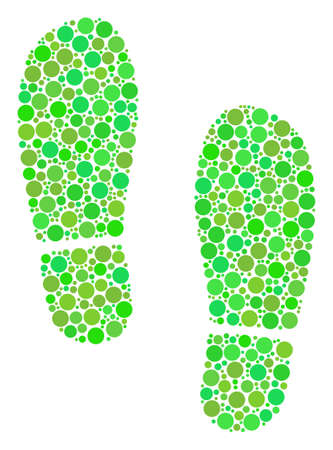 Boot Footprints composition of circle elements in different sizes and ecological green color hues. Vector dots are united into boot footprints mosaic. Fresh vector illustration. Vettoriali