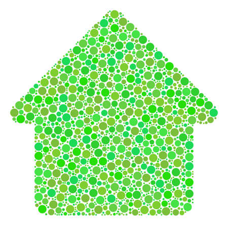 Cabin mosaic of circle elements in variable sizes and fresh green color tinges. Vector filled circles are composed into cabin composition. Ecological vector illustration. Illustration