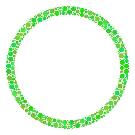 Circle Bubble collage of circle elements in variable sizes and ecological green color tints.