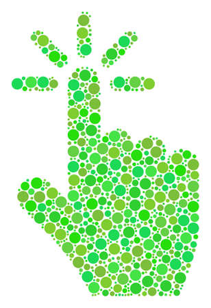 Click mosaic of circle elements in variable sizes and fresh green shades. Vector round dots are united into click mosaic. Eco vector illustration.