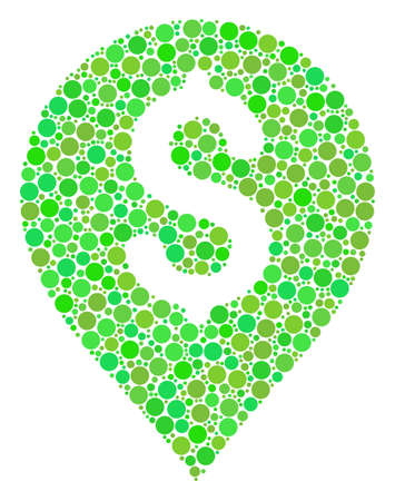 Banking Map Marker collage of dots in various sizes and green shades. Vector circle elements are grouped into banking map marker collage. Eco design concept.