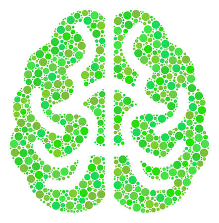 Brain collage of filled circles in different sizes and eco green color tints. Vector dots are composed into brain illustration. Fresh design concept.