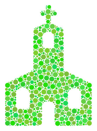 Christian Church mosaic of circle elements in various sizes and ecological green color tinges. Illustration