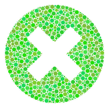 Cancel mosaic of filled circles in various sizes and green color hues. Vector round dots are combined into cancel composition. Eco design concept.