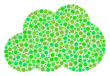 Cloud composition of filled circles in variable sizes and green shades. Vector filled circles are united into cloud collage. Freshness design concept.
