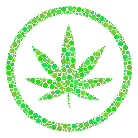 Cannabis composition of filled circles in variable sizes and ecological green color tones. Vector filled circles are combined into cannabis collage. Eco vector illustration.