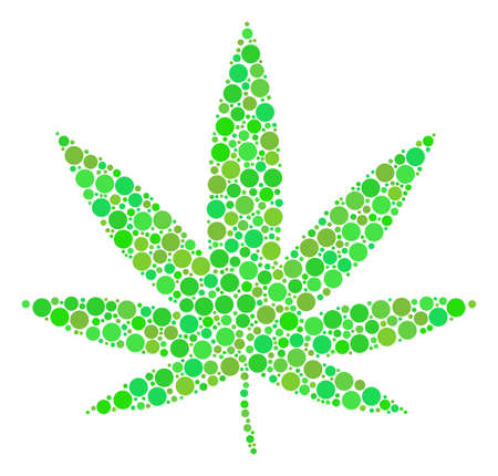 Cannabis mosaic of filled circles in different sizes and fresh green color tints. Vector dots are united into cannabis composition. Ecology design concept. Illustration