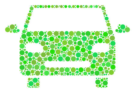 Car mosaic of dots in various sizes and fresh green color tinges. Vector filled circles are grouped into car mosaic. Ecology design concept. Illustration