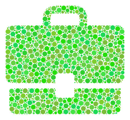 Case mosaic of dots in variable sizes and eco green shades. Vector round elements are grouped into case composition. Freshness design concept. Illustration