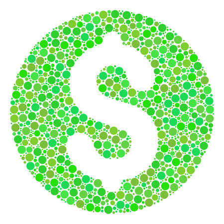 Coin mosaic of filled circles in variable sizes and green color hues. Vector circle elements are grouped into coin composition. Ecology design concept.