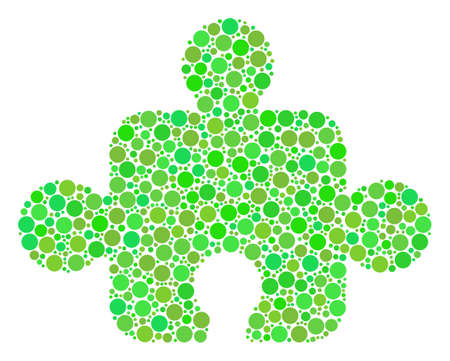 Component collage of circle elements in variable sizes and green color tinges. Vector dots are composed into component illustration. Ecological vector illustration. Illustration