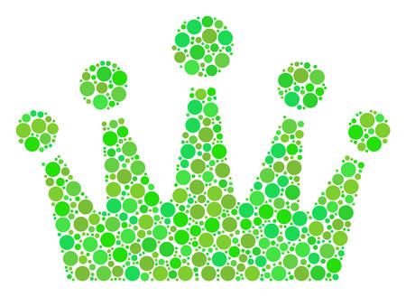 Crown composition of circle elements in variable sizes and green color tones. Vector round elements are composed into crown composition. Eco vector illustration.