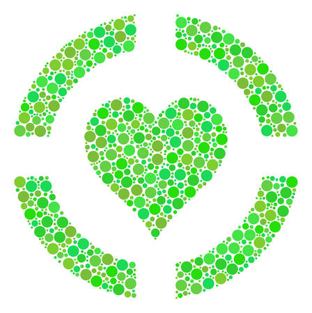 Casino Hearts mosaic of filled circles in variable sizes and eco green shades. Vector circle elements are grouped into casino hearts collage. Fresh vector illustration.