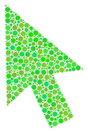 Cursor Arrow mosaic of filled circles in variable sizes and fresh green color tones. Vector filled circles are united into cursor arrow illustration. Fresh vector illustration.