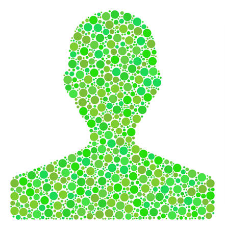 Customer collage of dots in variable sizes and ecological green color tones. Vector round dots are composed into customer collage. Eco vector illustration. Illustration