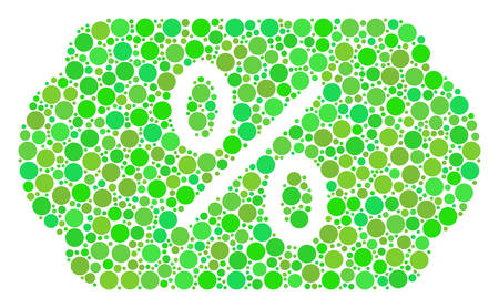 Discount Tag collage of circle elements in various sizes and green shades. Vector round dots are grouped into discount tag composition. Freshness vector illustration.