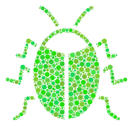 Bug collage of dots in various sizes and ecological green shades. Vector circle elements are united into bug mosaic. Organic vector illustration.