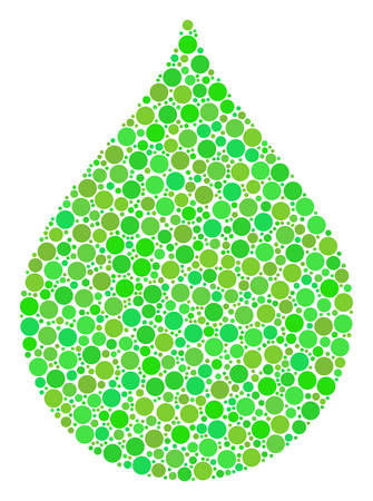Drop collage of filled circles in different sizes and eco green color tones. Vector round dots are composed into drop collage. Organic vector illustration.