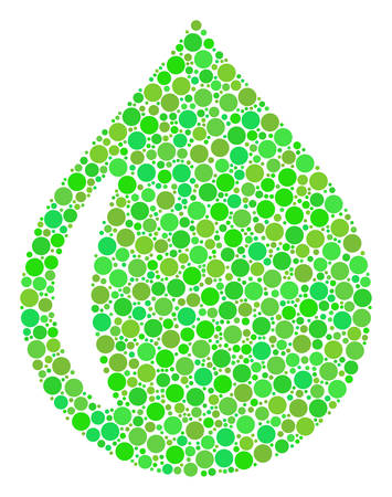 Drop mosaic of filled circles in various sizes and fresh green color tinges. Vector round dots are composed into drop mosaic. Ecological design concept.