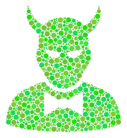 Devil mosaic of dots in various sizes and green color tones. Vector round elements are combined into devil composition. Organic vector illustration. Ilustração