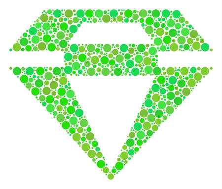 Diamond collage of circle elements in different sizes and fresh green shades. Vector round elements are composed into diamond mosaic. Organic design concept. Ilustrace
