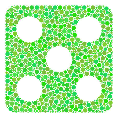 Dice composition of circle elements in different sizes and ecological green shades. Vector filled circles are composed into dice illustration. Ecological vector illustration.