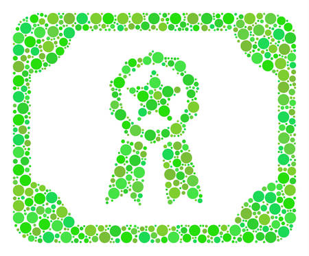 Diploma composition of circle elements in various sizes and green color tints. Vector dots are grouped into diploma mosaic. Eco vector illustration. Illustration