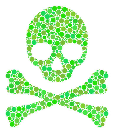 Death Skull collage of filled circles in various sizes and eco green color tints. Vector circle elements are composed into death skull illustration. Organic vector illustration.