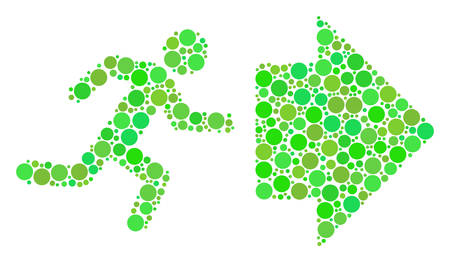 Exit Direction composition of filled circles in variable sizes and eco green color tinges. Vector round dots are composed into exit direction collage. Freshness design concept.