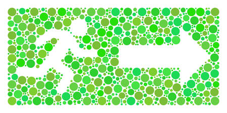 Emergency Exit collage of dots in different sizes and green color tones. Vector round elements are grouped into emergency exit illustration. Ecological design concept.