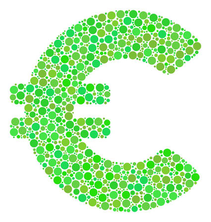 Euro mosaic of filled circles in various sizes and green color tones. Vector filled circles are combined into euro composition. Ecological vector illustration. Illustration